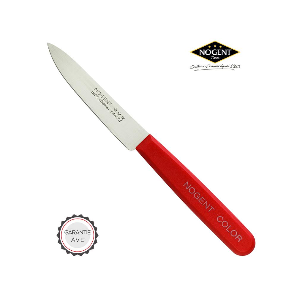 Couteau à lame lisse en plastique polypropylène de couleur rouge Nogent***